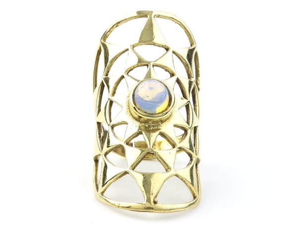 Moonburst Ring, Long Brass Moonstone Ring, Geometric, Gemstone, Tribal, Ethnic, Gypsy, Hippie Jewelry, Festival Jewelry, Boho