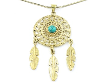Turquoise Dreamcatcher Necklace, Feather Pendant, Western, Indian, Festival Jewelry, Boho, Bohemian, Gypsy, Hippie, Spiritual