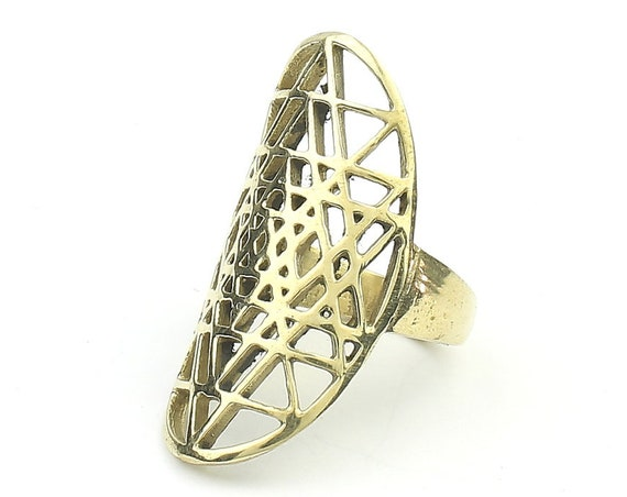 Brass Sri Yantra Ring, Sacred Geometry Ring, Large Ring, Festival Jewelry, Gypsy Jewelry, Boho, Grid, Hippie