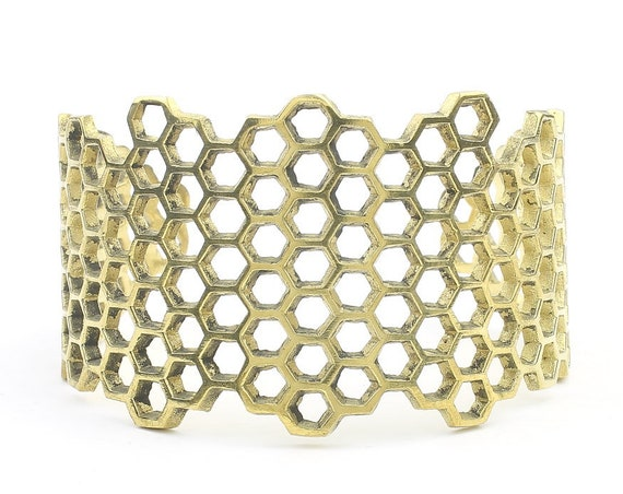 Honeycomb Cuff Bracelet, Molecule Bracelet, Geometric, Boho, Bohemian, Gypsy, Festival Jewelry, Modern, Contemporary