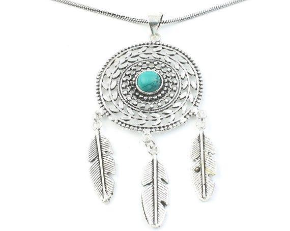 Turquoise Dreamcatcher Necklace, Feather Pendant, Western, Indian, Festival Jewelry, Boho, Bohemian, Gypsy, Hippie, Spiritual