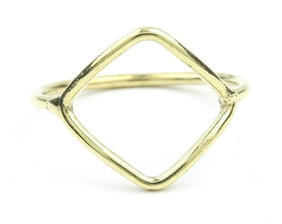 Brass Diamond Ring, Geometric, Minimal Ring, Modern Ring, Festival Jewelry, Gypsy Jewelry, Boho