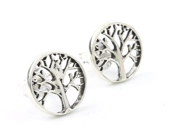 Sterling Silver Tree Of Life Earrings, Tree Stud Earrings, Boho, Bohemian, Gypsy, Festival Jewelry