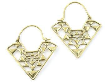 Damak Geometric Earrings, Triangle Earrings, Alchemy Earrings, Minimalist, Modern Earrings, Festival, Gypsy Earrings, Ethnic,