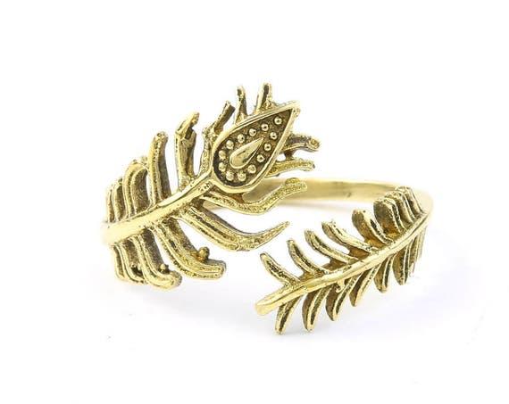 Peacock Feather Ring, Brass Adjustable, Yoga Jewelry, Tribal, Ethnic Ring, Gypsy, Hippie Jewelry, Festival Jewelry, Boho, Minimal