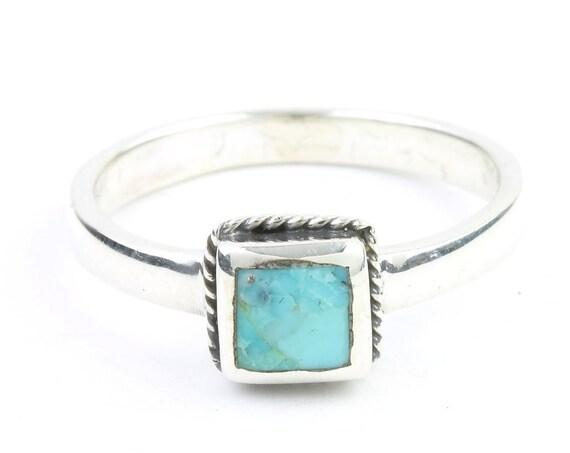 Oasis Ring, Sterling Silver  Square Turquoise Ring, Minimal, Modern, Boho, Bohemian, Gypsy, Festival Jewelry, Gemstone, Southwestern