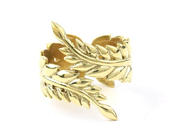 Brass Vine Ring, Leaves, Feather, Yoga Jewelry, Tribal, Ethnic Ring, Gypsy, Hippie Jewelry, Festival Jewelry, Boho, Minimal