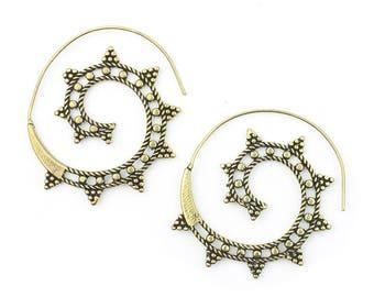 Gypsy Tribe Earrings, Brass Ethnic Earrings, Spiral, Boho, Bohemian, Tribal, Festival Jewelry, Gypsy, Hippie, Contemporary, Statement Piece