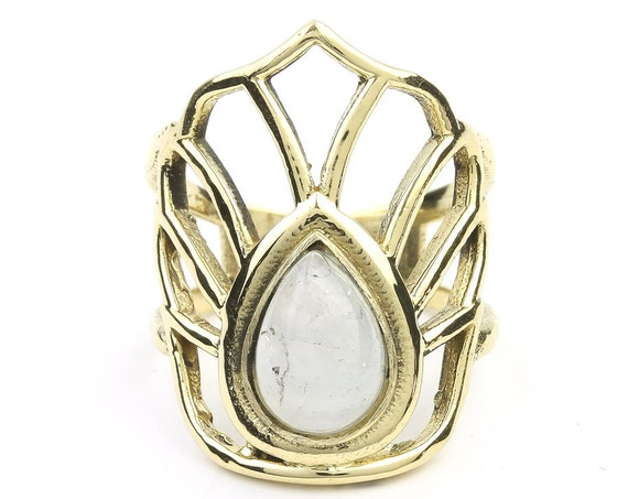 Brass Moonstone Lotus Ring, Gemstone Ring, Open Lotus Ring, Yoga, Meditation, Festival Jewelry, Gypsy Jewelry, Boho, Hippie