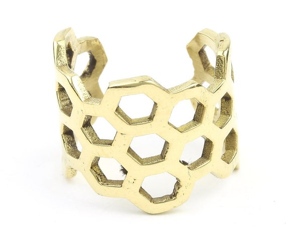 Brass Honeycomb Ring, Bee Ring, Adjustable Ring, Boho, Gypsy, Festival Jewelry