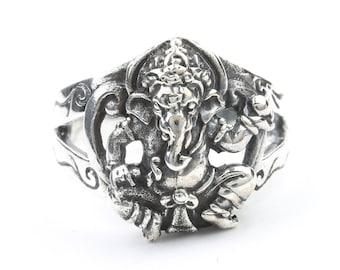 Ganesh Ring, Sterling Silver Ganesha Ring, Elephant, 925, Boho, Gypsy, Festival Jewelry, Hippie Jewelry, Hindu, Deity
