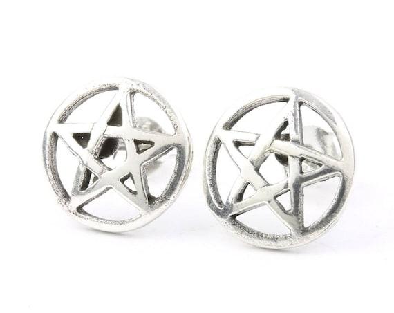 Sterling Silver Pentacle Earrings, Star Posts, Pentagram Stud Earrings, Wiccan, Pagan, Gypsy, Festival Jewelry