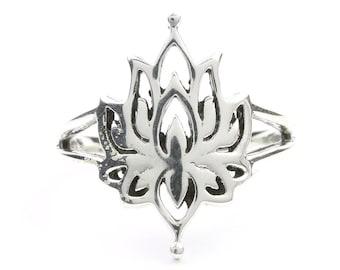 Sterling Silver Lotus Ring, Open Lotus Flower, Yoga Jewelry, Meditation, Spiritual, Nature, Boho, Bohemian, Gypsy, Hippie, Festival Jewelry