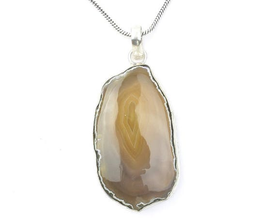Natural Agate Necklace, Crystal Necklace, Raw Stone Jewelry, Festival Jewelry, Boho, Hippie