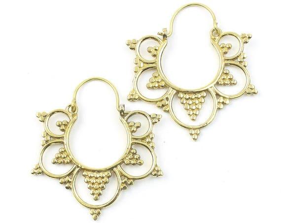 Golden Sol Earrings, Ornate Ethnic Earrings, Tribal Brass Earrings, Festival Earrings, Gypsy Earrings, Hoop Earrings