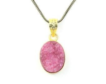 Pink Quartz Druzy Brass Necklace, Dyed Quartz Drusy, Crystal Necklace, Raw Stone Jewelry, Festival Jewelry, Boho, Hippie