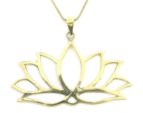Large Lotus Necklace, Open Lotus Pendant, Yoga Jewelry, Flower, Meditation, Festival Jewelry, Boho, Bohemian, Gypsy, Hippie, Spiritual