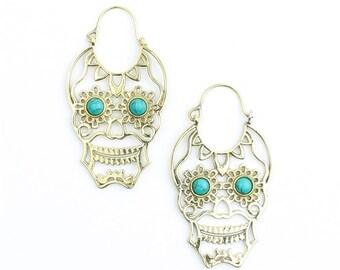 Sugar Skull Earrings, Turquoise Skull Brass Earrings, Festival, Gypsy, Day Of The Dead, Ethnic Earrings, Brass Earrings