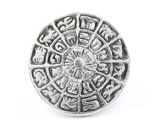 Sterling Silver Zodiac Wheel Ring, Astrology Ring, Star, Cosmic, Hippie, Boho