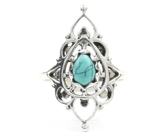 Turquoise Meru Ring, Sterling Silver Turquoise Ring, Stone Jewelry, Gemstone, Southwestern, Boho, Gypsy, Ethnic, Hippie, Spiritual