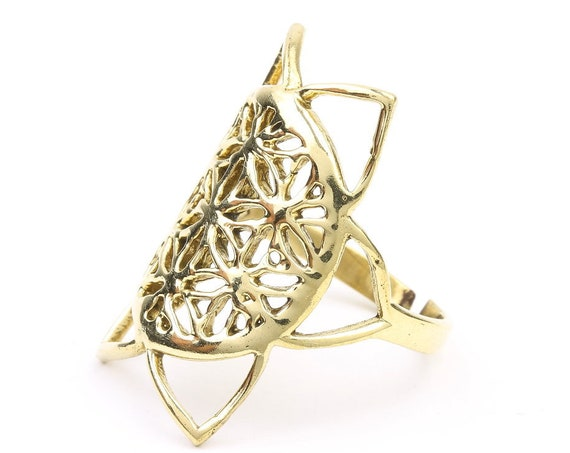 Brass Flower of Life Ring, Sacred Geometry, Meditation, Yoga Jewelry, Tribal, Ethnic Ring, Gypsy, Hippie Jewelry, Festival Jewelry, Boho
