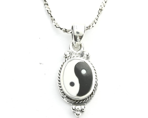 Sterling Silver Yin Yang Necklace, Balance, Yoga Jewelry, Meditation, Spiritual, Boho, Gypsy, Festival, Hippie