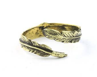 Brass Feather Ring, Adjustable, Western, Indian, Yoga Jewelry, Tribal, Ethnic Ring, Gypsy, Hippie Jewelry, Festival Jewelry, Boho, Minimal