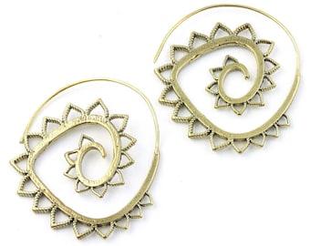 Sun Daze Earrings, Brass Ethnic Earrings, Spiral, Boho, Bohemian, Tribal, Festival Jewelry, Gypsy, Hippie, Contemporary, Mandala
