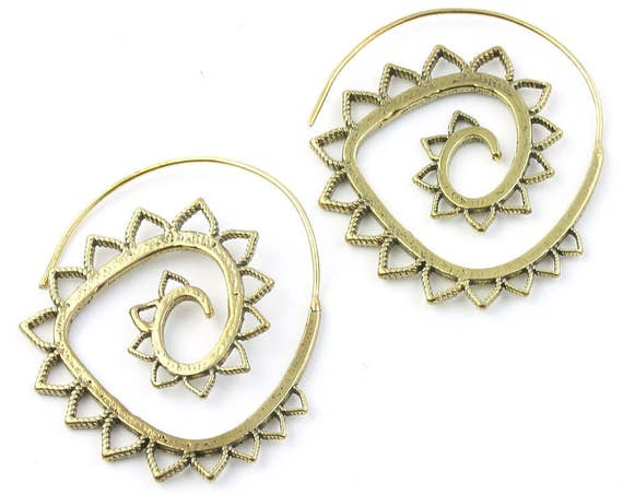 Sun Daze Earrings, Brass Ethnic Earrings, Spiral, Boho, Bohemian, Tribal, Festival Jewelry, Gypsy, Hippie, Contemporary, Mandala
