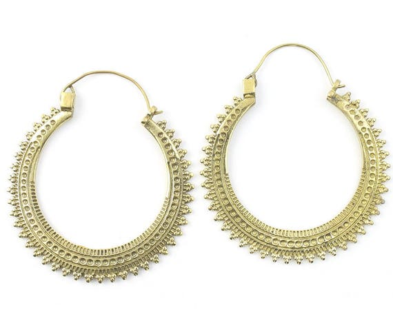 Bekasi Earrings, Large Ornate Ethnic Hoop Earrings, Tribal Brass Earrings, Festival Earrings, Gypsy Earrings