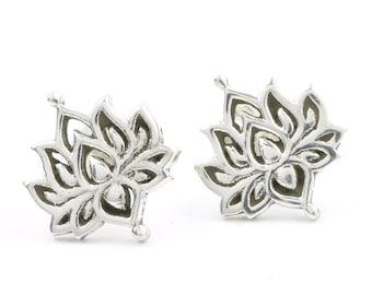 Sterling Silver Lotus Earrings, Open Lotus Posts, Lotus Stud Earrings, Yoga, Boho, Gypsy, Festival Jewelry
