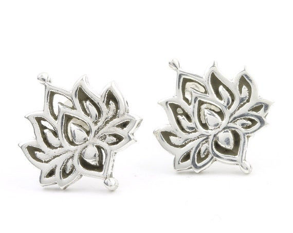 Sterling Silver Lotus Earrings, Open Lotus Posts, Lotus Stud Earrings, Yoga, Boho, Gypsy, Festival Jewelry