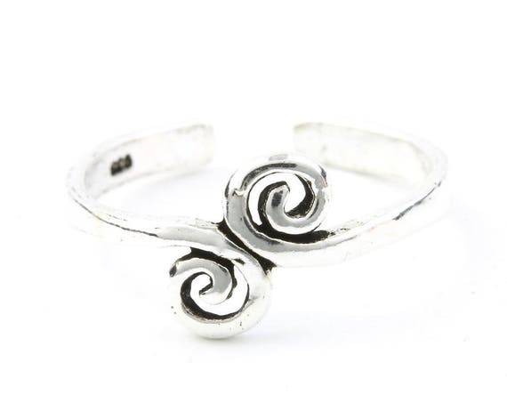 Sterling Silver Spiral Toe Ring, Flower Foot Jewelry, Midi Ring, Knuckle Ring, Boho, Festival Jewelry, Beach, Gypsy, 925 Sterling Silver
