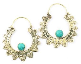 Turquoise Sun Earrings, Mandalas, Gemstone Jewelry, Mehndi Brass Earrings, Festival Earrings, Gypsy Earrings, Ethnic Earrings
