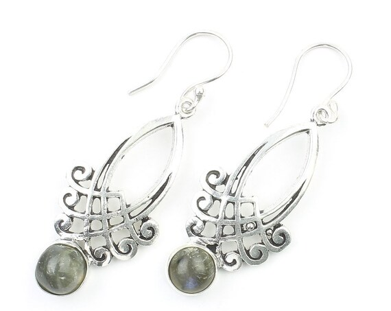 Mallawi Labradorite Earrings, Gemstone Jewelry, Festival Earrings, Gypsy Earrings, Ethnic Earrings