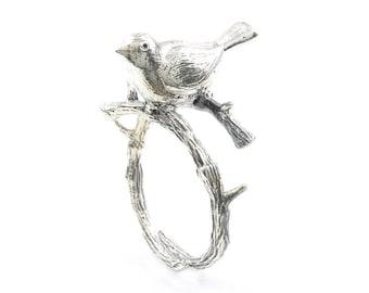 Sterling Silver Bird Ring, Bird On Branch, Tree Ring, Boho, Bohemian, Gypsy, Festival Jewelry, Animal Jewelry