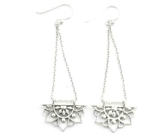 Sterling Silver Mandala Earrings, Chain Earrings, Flower Earrings, Festival Jewelry, Ethnic Jewelry, Boho, Gypsy