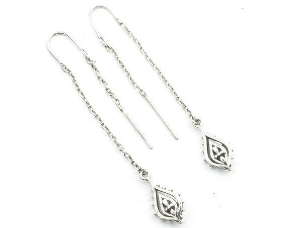 Sterling Silver Threader Earrings, Chain Earrings, Paisley Earrings, Festival Jewelry, Ethnic Jewelry, Boho, Gypsy