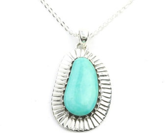 Sterling Silver Turquoise Necklace, Southwestern Jewelry, Large Turquoise, Meditation, Spiritual, Boho, Gypsy, Festival Jewelry