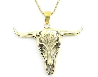 Bull Skull Necklace, Bones, Animal Skull, Cow Skull, Taxidermy Necklace, Festival Jewelry, Boho, Bohemian, Gypsy, Hippie, Spiritual