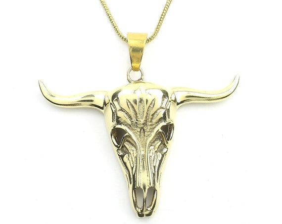 Bull Skull Necklace, Bones, Animal Skull, Cow Skull, Taxidermy Necklace, Festival Jewelry, Boho, Bohemian, Gypsy, Hippie, Spiritual