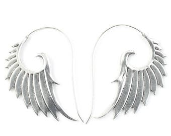 Angel Wing Earrings, Wing Earrings, Biker Jewelry, Tribal Earrings, Festival Jewelry, Gypsy Earrings, Ethnic
