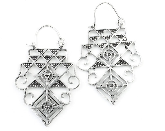 Temple Earrings, Sacred Geometry Earrings, Geometric Triangle Earrings, Alchemy Earrings, Modern Earrings, Festival, Gypsy Earrings, Ethnic,