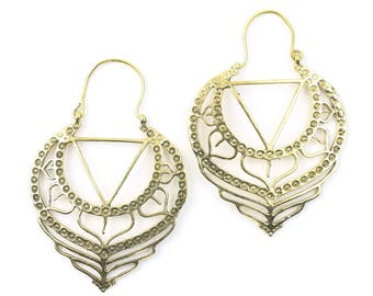 Bidur Sacred Geometry Earrings, Geometric Triangle Earrings, Alchemy Earrings, Modern Earrings, Festival, Gypsy Earrings, Ethnic,