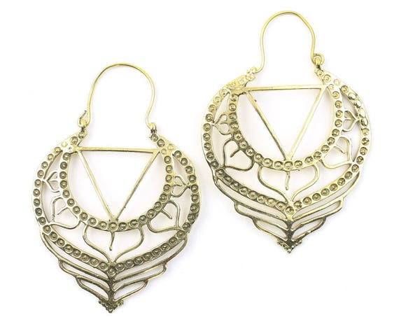 Bidur Sacred Geometry Earrings, Geometric Triangle Earrings, Alchemy Earrings, Modern Earrings, Festival, Gypsy Earrings, Ethnic,