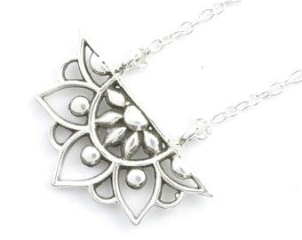 Sterling Silver Mandala Necklace, Flower Jewelry, Yoga Jewelry, Matching Set, Meditation, Spiritual, Boho, Gypsy, Festival