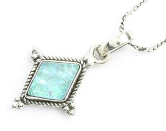 Heaven Snow Opal Sterling Silver Necklace, Lab Opal, Gemstone, Meditation, Spiritual, Boho, Gypsy, Festival
