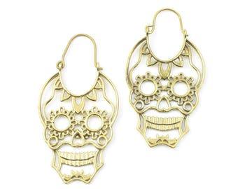 Sugar Skull Earrings, Day Of The Dead, Festival Earrings, Gypsy Earrings, Ethnic Earrings, Brass Earrings
