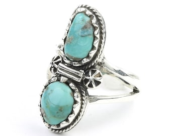 Turquoise Blossom Ring, Sterling Silver Turquoise Ring, Stone Jewelry, Gemstone, Southwestern, Boho, Gypsy, Ethnic, Hippie, Spiritual