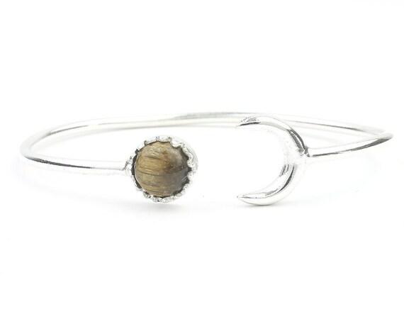 Moonstruck Bracelet, Crescent Moon Bracelet, Tigers Eye, Stone Bangle, Arm Cuff, Boho, Bohemian, Gypsy, Festival Jewelry, Minimal